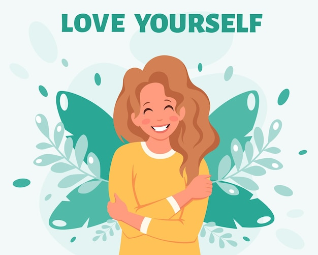 Houd van jezelf concept vrouw knuffelt zichzelf