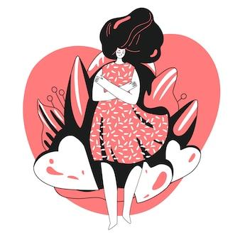 Houd van jezelf en zorg voor jezelf concept. meisje, knuffelen zichzelf met grote liefde hart. girl healthcare skincare illustratie over neem de tijd voor jezelf.