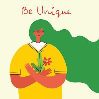 Houd van jezelf, wees uniek, vrouw achtergrond. vector lifestyle concept kaart met tekst vergeet niet om van jezelf te houden in de vlakke stijl