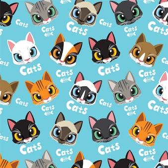 Houd van kattenpatroon