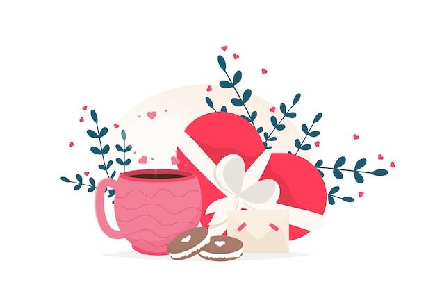 Houd van koffiekopje, macarondessert en chocoladesnoepjeskaart. ik hou van je kaart.
