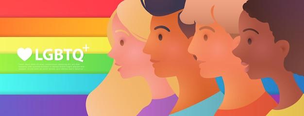 Houd van lgbtq met portretten van jonge activisten boven een kleurrijke regenboogvlag