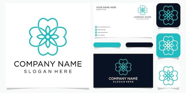 Houd van natuurlijk of hart combineer blad. lijntekeningen stijl. logo en visitekaartje ontwerp.