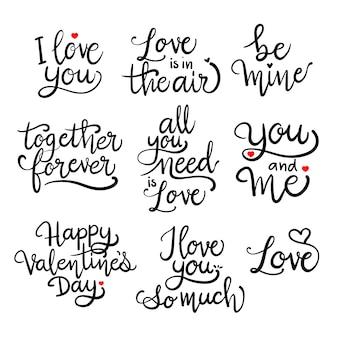 Houd van romantische kalligrafie