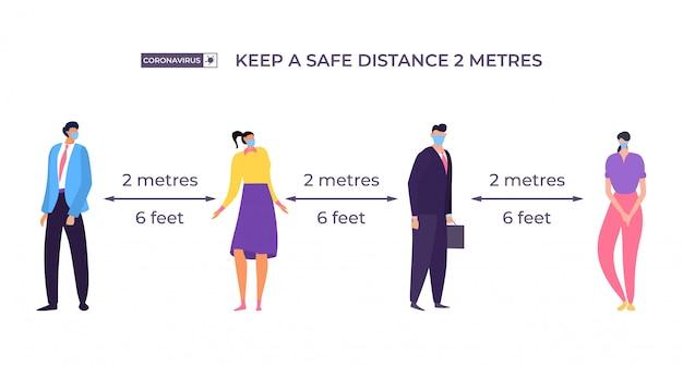 Houd veilige afstand tussen karakter, concept illustratie. man en vrouw staan apart van elkaar, isolerend