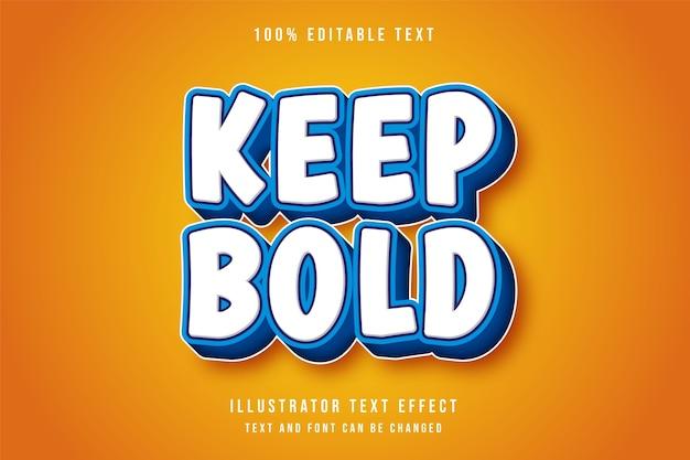 Houd vetgedrukte, 3d bewerkbare teksteffect moderne blauwe tekst komische stijl