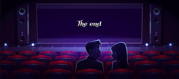 Houdend van paar in bioscoop