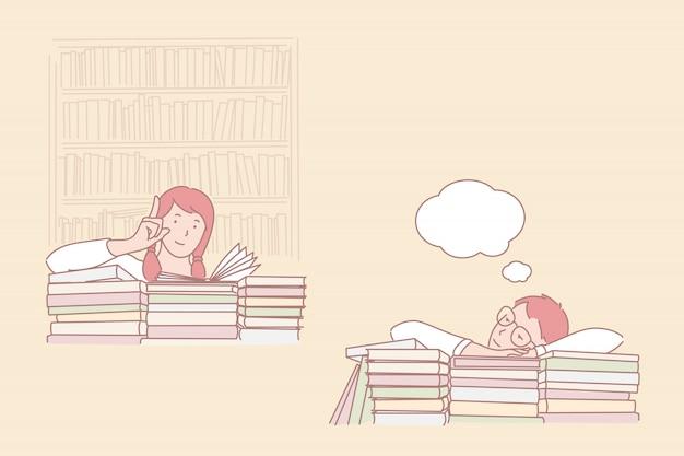 Houding om te studeren, passie voor leren en dagdromen illustratie