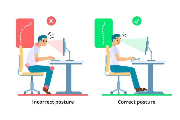 Houdingcorrectie infographics sjabloon