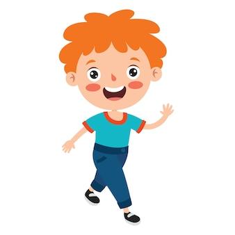 Houdingen en uitdrukkingen van een grappige jongen