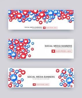 Houdt van emoji-bannerset, blauwe en rode duim omhoog en hartpictogram voor live stream sociaal netwerk.