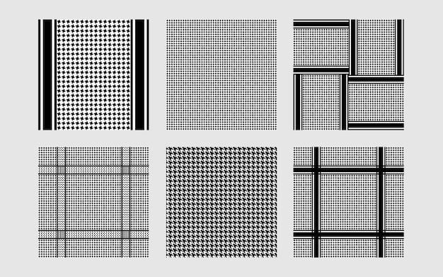 Houndstooth naadloze patronen set herhaal achtergronden collectie