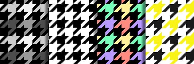 Houndstooth vector naadloze patronen set herhaal textiel print