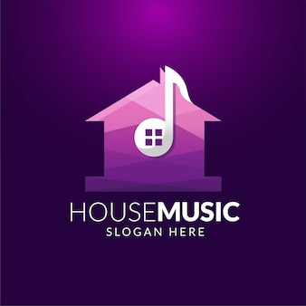 House music logo sjabloon in witte ruimte
