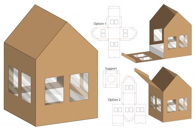 House shape box packaging gestanst sjabloonontwerp Premium Vector