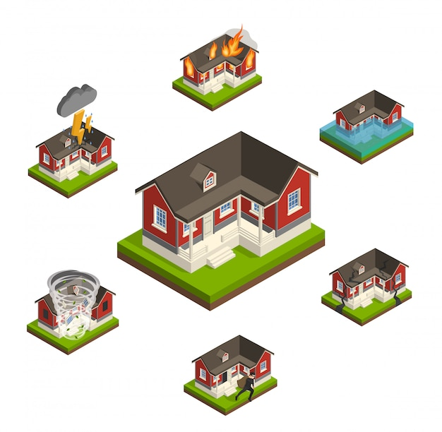 Household insurance isometric set
