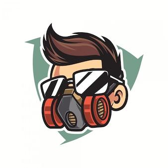 Hout werknemer mascotte logo sjabloon
