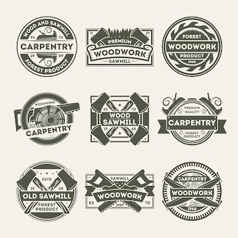 Houtbewerking bedrijf vintage geïsoleerde label set