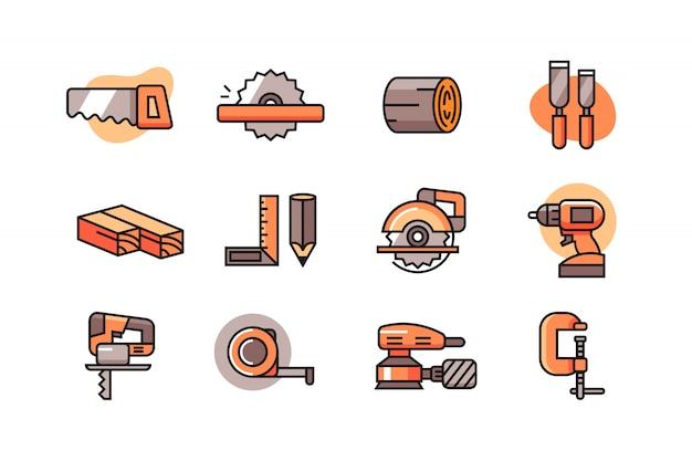 Houtbewerking icon set