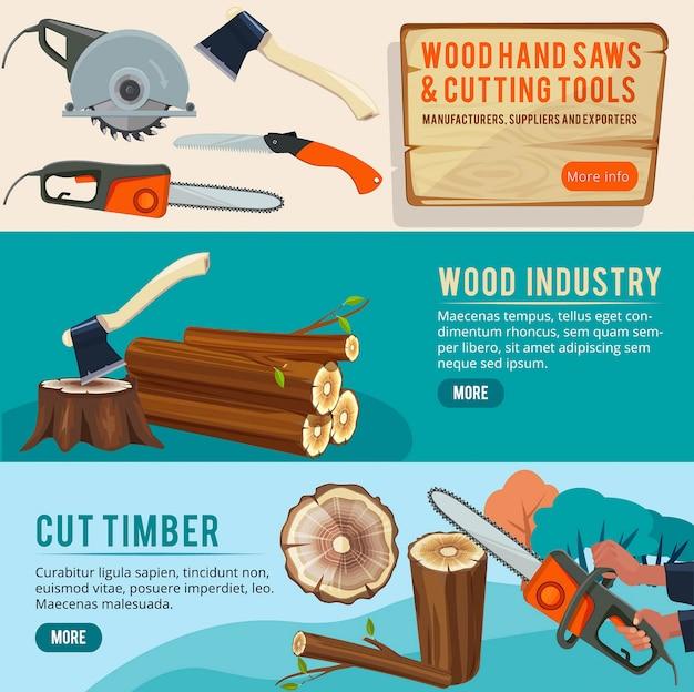 Houtbewerking productie. banners van hout afbeeldingen bosbouw stapel trunks houthakker snijgereedschap illustraties