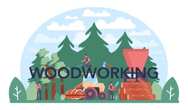 Houtbewerking typografische kop. houtindustrie en houtproductie