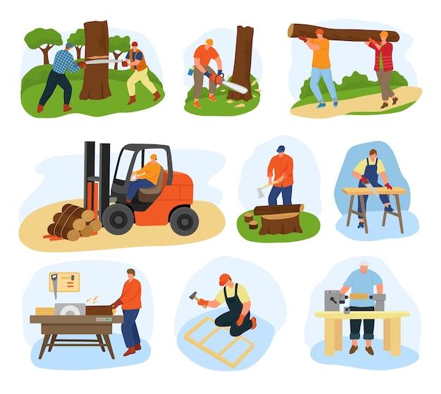 Houtbewerkingsset. houten productieapparatuur en balken. vrachtwagens zagen, transport naar houtfabriek, snijplank, meubelfabriek. boomstammen, timmerwerk.