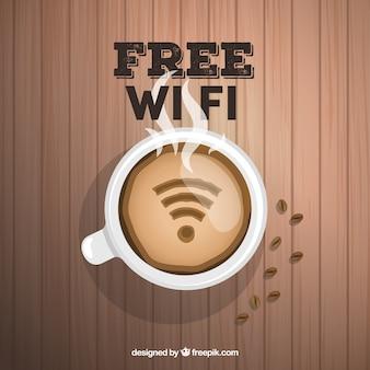 Houten achtergrond met koffie kop en wifi signaal