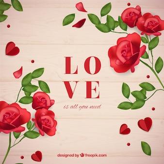 Houten achtergrond met liefdewoord en rozen