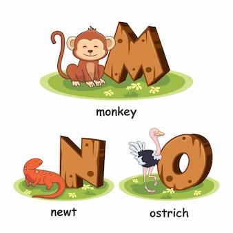 Houten alfabet dieren aap newt struisvogel