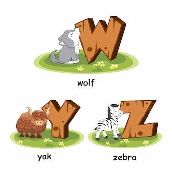 Houten alfabet dieren wolf yak zebra