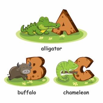 Houten alfabet dieren