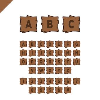Houten alfabetblokken met letters en getallen in houten textuur