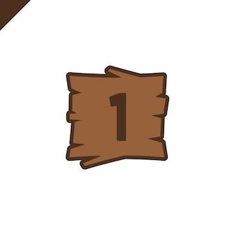 Houten alfabetblokken met nummer 1 in houten textuur
