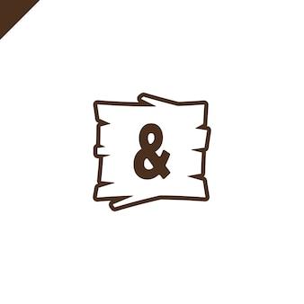Houten alfabetblokken met symbool ampersand in houten textuur
