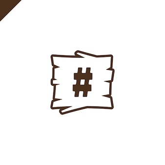 Houten alfabetblokken met symboolhasj in houten textuur