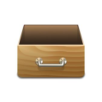 Houten archiefkast voor documenten. vector illustratie