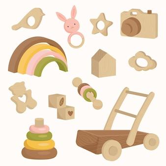 Houten babyspeelgoed in aardetinten kleuren regenboog push walker donut rammelaar camera icon set