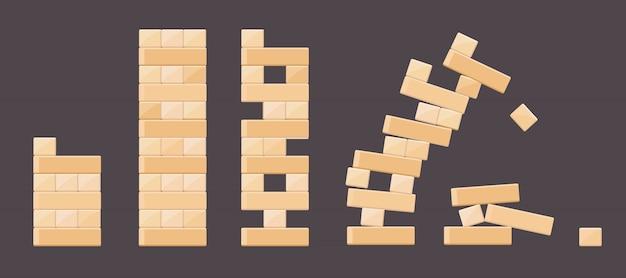 Houten bakstenen details van torengames voor kinderen. de vector houten baksteen, bouwt kubusblok, de bouwillustratie van de stuk speelgoed toren