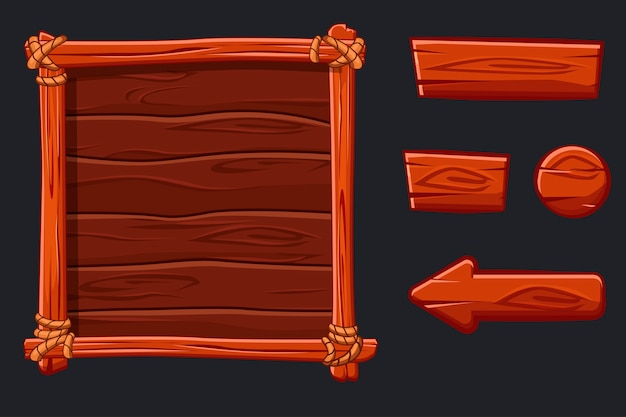 Houten banner en knoppen. set red wood assets, interface en knoppen voor ui game