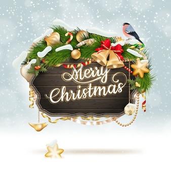 Houten banner met bont-boomtakken van kerstmis.