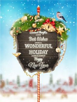 Houten banner met kerstbont-boomtakken.