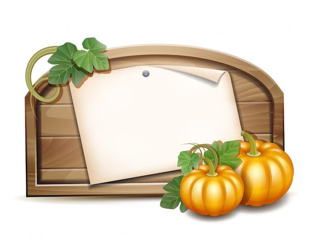 Houten banner met oranje pompoenen. illustratie autumn harvest festival of thanksgiving day. milieuvriendelijke groenten.