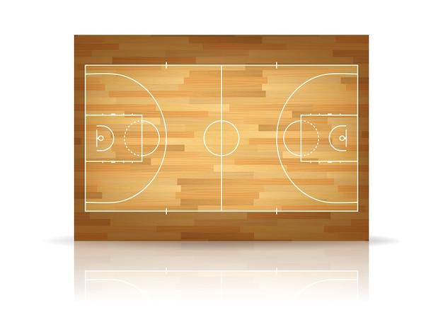 Houten basketbalveld achtergrond.