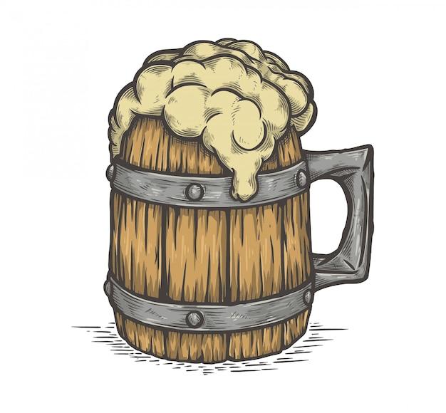 Houten bierglas