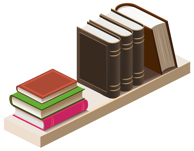 Houten boekenplank met boeken isometrische 3d illustratie. tekenfilm