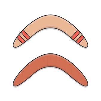 Houten boemerangs pictogram illustratie