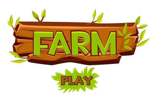 Houten boerderij singboard voor ui-spel en afspeelknop. cartoon afbeelding van een bord met een inscriptie.
