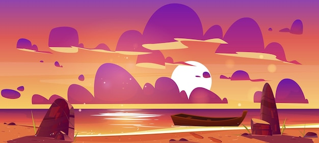 Houten boot op schemer zee, zonsondergang zeegezicht uitzicht