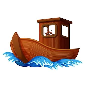 Houten boot zeilen in de oceaan