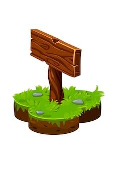 Houten bord aanwijzer in isometrische grond. illustratie van een landeiland met gras.